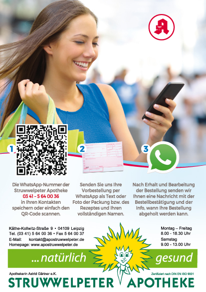 Whatsapp Kontakt zur Struwwelpeter-Apotheke mit QR Code