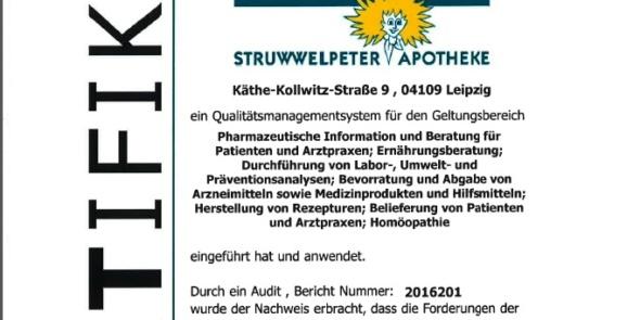 Zertifikat des QMS der Struwwelpeter-Apotheke